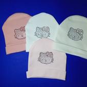 Весенняя шапочка Hello Kitty 3-6-12 мес, цвет на выбор.