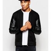 Мега стильный мужской бомпер-куртка с декорат.рукавами (кач.кожзам) все разм) ограничен количество!