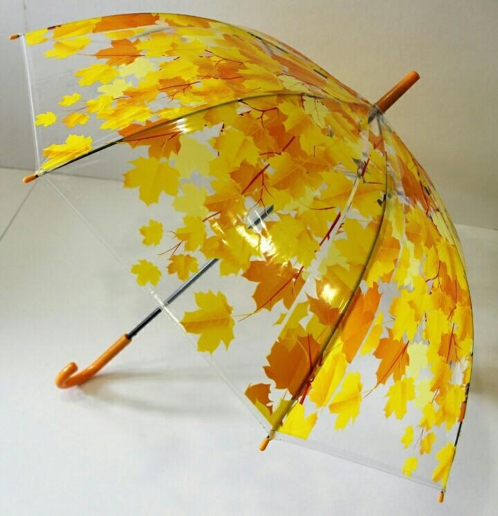 Открытки, открытка зонт из осенних листьев на зеленой траве