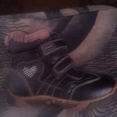 Зимние ботинки р.32 для девочки. Кожа, цыгейка.