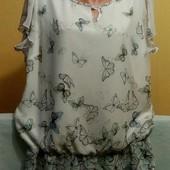 Очень красивая и милая блуза в принт бабочки р.18. В состоянии новой вещи. смотрите замеры