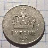 Монета Норвегии 1 крона 1976