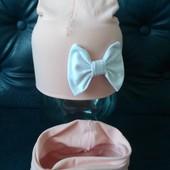 Яркий трикотажный комплект шапка и хомут пудровый