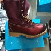 Теплющие подростковые ботинки с натуральным мехом,качество супер цвет бордо, коричневые 34-36