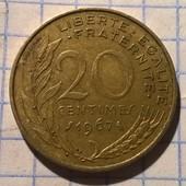 Монета Франции 20 сантимов 1967