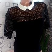 Шикарная блузка крепшифон+дорогое кружево стоечка! дорогая моделька!б/у но из люкса!