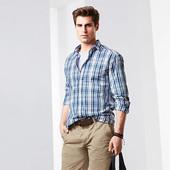 Стильная мужская рубашка TCM тchibo из высококачественного хлопка. размер М