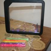 Детская ЛЕД-рамка с подсветкой для рисования и 5 фломастеров. Классная вещь.