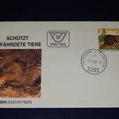 Почтовый конверт. Австрия. чистый. 1982 год. Фауна. Бобер.