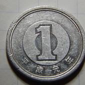 Монета. Япония. 1 иена 1955-1989 года.