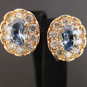 Последние!!!Очаровательные серьги с крупным кристалом и фианитами позолота 585 пробы