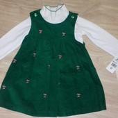 Стоп!!! Новый(с этикеткой)шикарный нарядный фирменный комплект 3-4 года: вельветовое платье и гольф