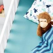 ☘ Детская простынь на резинке из 100% органического хлопка, Tchibo, размер: 120*80 см +-