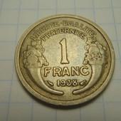 монета 1 франк 1938г. Франция