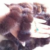 Меховый браслет, резинка для волос  с натуральным  мехом
