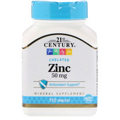 21st Century, Цинк, 50 мг, 110 таблеток. Поддержка иммунной системы.