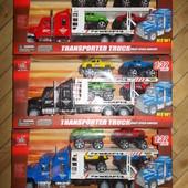 Инерционный Трейлер машиновоз грузовик с машинками jin jia toys