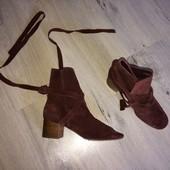 Замшевые ботиночки на завязках р.36