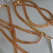 красивая и нежная цепочка, плетение бисмарк классическая 50 cм, позолота 585 пробы