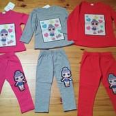 Хит! Стрейч-коттон костюм для девочки LOL 1-3 года, брюки и реглан. малиновый красный серый. Турция.