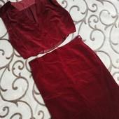 Велюровий елегантний костюм л хл (колір темно бордовий)