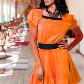 """Платье """"Рюш"""". Яркий цвет 045!!! Размер М-ка!!! Смотрите описание!"""