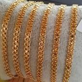 последний! красивый и нежный браслет плетение бисмарк классика 19.3 cм, позолота 585 пробы