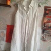 Льняной халат белого цвета на 44-46(укр.)