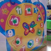 """Деревянная развивающая игрушка """"Часы"""" - в виде животных или колесо обозрения. Рамка-вкладыш."""