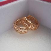 Ажурные серьги-кольца Xuping медсплав, покрытие золотом 18К/585 пробы
