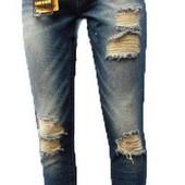 Классные рваные новые джинсы с пояском!