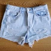 Шорты джинсовые H&M бойфренды, на р.S, плотный выбеленный джинс, не тянется