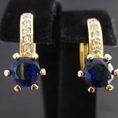 Последние!!!Очаровательные серьги  c  синими фианитами  позолота 585 пробы
