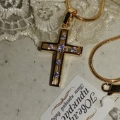 новинка! красивый и нежный декоративный крестик с фианитами, позолота 585 пробы