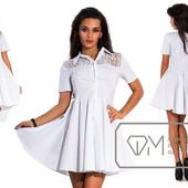 Белое платье с кружевом, стрейч-коттон, 40-46р