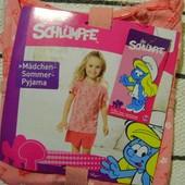 Хлопковая комфортная пижамка для девочки смурфики Smurfs Германия 122\128