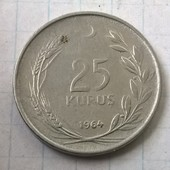Монета Турции 25 курус 1964