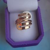 Кольцо медсплав, покрытие золотом 18К/585 пробы  (р.19)
