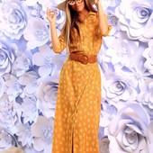 Коттоновое платье-рубашка в пол. Качество люкс! Размеры 42, 44, 46
