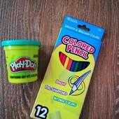 Кольорові олівці якісні 12шт + пластилін для рукоділля!!!)