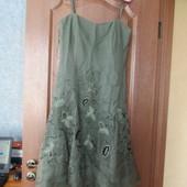 Вечернее платье миди на тонких бретелях из натурального шелка от coast р.12. хит продаж!