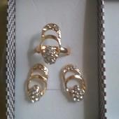Набор Позолоченные серьги+кольцо Xuping
