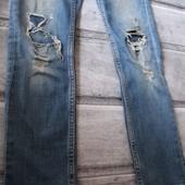 джинсы скинни на школьницу, рванка, стильно смотрятся! 128 рост, 7-8 лет