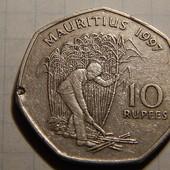 Монета. Маврикий. 10 рупий 1997 года. Уборка сахарного тростника.