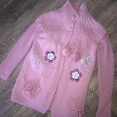 Модная двойка свитерок+жилетка для модницы 6-7 лет