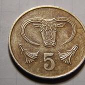 Монета. Кипр. 5 центов 1983 года. Фауна. Бык в неолитическом стиле.