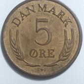 Монета Дании 5 оре 1963 год,правление Фредерик IX !!!