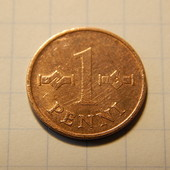 Монета. Финляндия. 1 пенни 1969 года. (медь.)