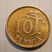 Монета. Финляндия. 10 пенни 1981 года.