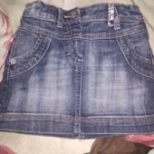 Классная джинсовая юбочка на малышку 98-110 см.
